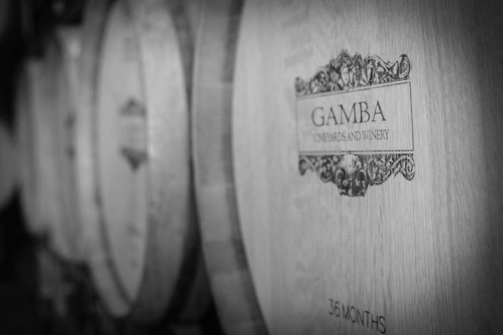 Gamba Vineyards and Winery Barrels